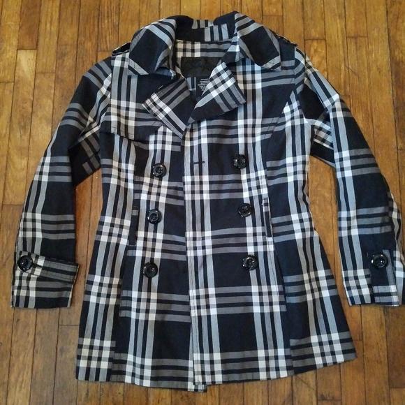 Jou Jou Black & White Plaid Blazer Pea Coat Jacket